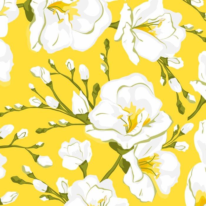 White freesia on a yellow background Leggings