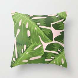 Tropical Leafs Throw Pillow