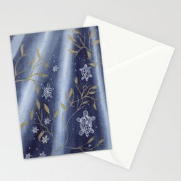 Sea Turtles with Indigo and gold Stationery Cards