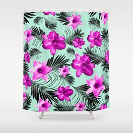 Tropical Flowers Palm Leaves Finesse #9 #tropical #decor #art #society6 Shower Curtain
