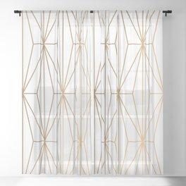 Gold Geometric Pattern Illustration Sheer Curtain