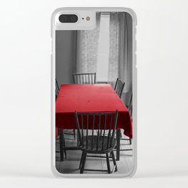 Red Table Cloth on Gray Clear iPhone Case
