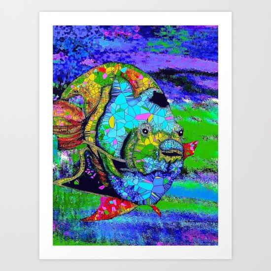 Angel Fish Swimming Through The Sea Art Print
