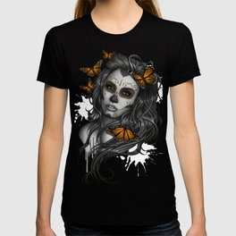 Sugar Skull Tattoo Girl with Butterflies T-shirt