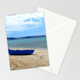 Blue boat in Greece Stationery Cards