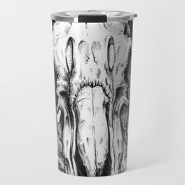Pen and Ink Illustration - Ram Skull with Hibiscus Travel Mug