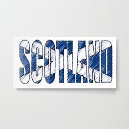 Scotland Font with Scottish Flag Metal Print