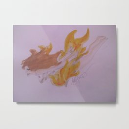 Time To Go Down In Flames. Metal Print