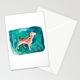 Beagle Dog Painting on Emerald Green Stationery Cards