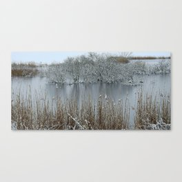 Icy Winter Lake with Frozen Trees and Reeds Canvas Print