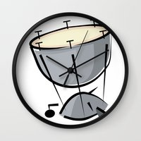 drum Wall Clocks featuring Timpani Drum by shopaholic chick