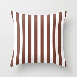 Vertical Stripes (Brown & White Pattern) Throw Pillow