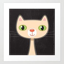 Green Eyes Kitty Art Print