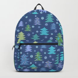 Winter Christmas Trees and Snowflakes in Purple, Blue and Green Backpack