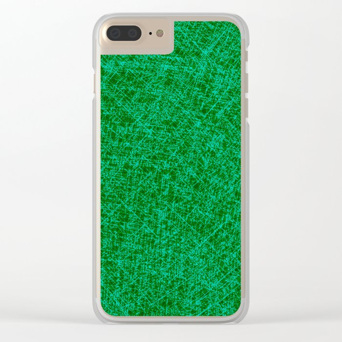 Scratched Green Clear iPhone Case