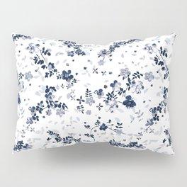 Indigo Blue Clematis Floral Pattern Pillow Sham