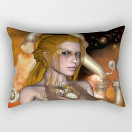 Steampunk, Beautiful steampunk women Rectangular Pillow