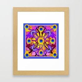 Decorative Purple Butterflies Abstract Yellow Floral Blue Pattern Art Framed Art Print