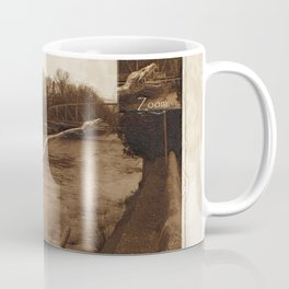 Elasmosaurus Dinosaur Attacking Bridge Coffee Mug