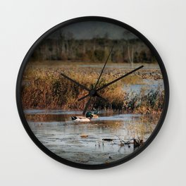 Mallards in the Swamp Wall Clock