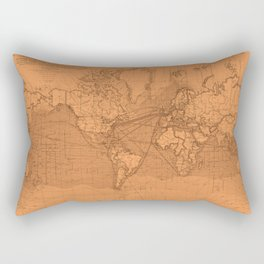 World Surface Routes in Brown Rectangular Pillow