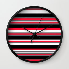 Stripes Pattern: Red Wall Clock
