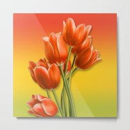 Orange Tulips & Warm Gradient Metal Print