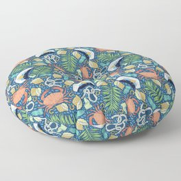 Cap and crab with seashells on water drops Floor Pillow