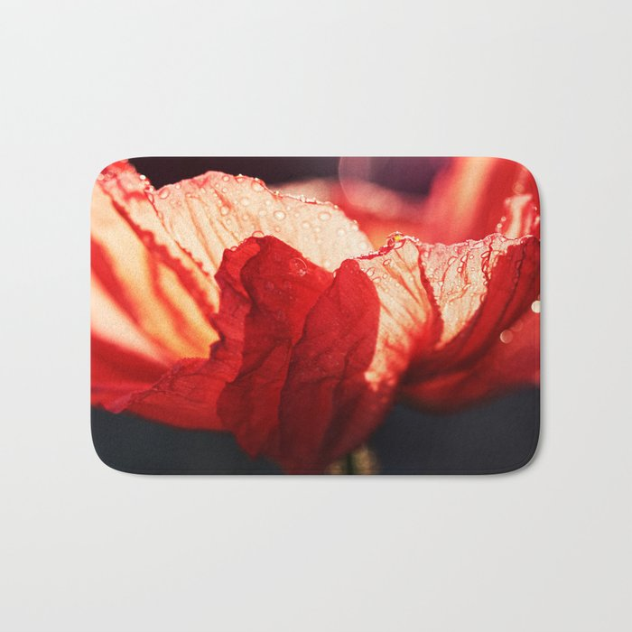 Passion - Expressionistic red poppy macro photo Bath Mat