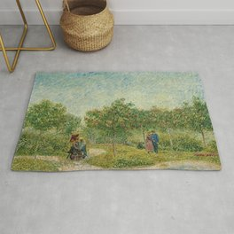 Garden with Courting Couples - Square Saint-Pierre by Vincent van Gogh Rug