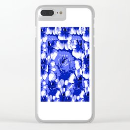Roses Blue and White Toile #2 Clear iPhone Case