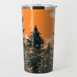 CHARCOAL GREY WESTERN PINE TREES  LANDSCAPE Travel Mug