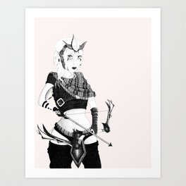 The Warrior Pen and Ink Art Print