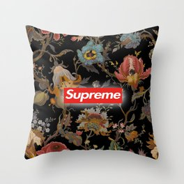 Floral black supreme Throw Pillow