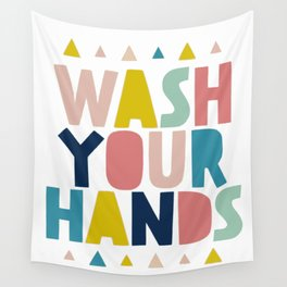 Wash your hand bathroom art Wall Tapestry