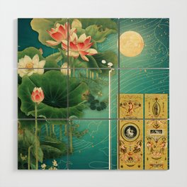 Chinese Lotus Full Moon Garden :: Fine Art Collage Wood Wall Art