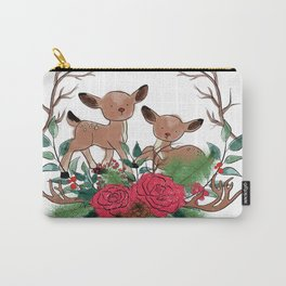 Little Deers With Roses Hand Drawn Illustration Carry-All Pouch