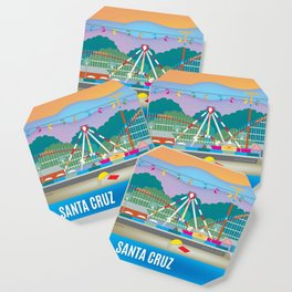 Santa Cruz, California - Skyline Illustration by Loose Petals Coaster