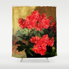 Decorative Red Geraniums  Floral Still Life Art Shower Curtain