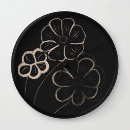 Light Sepia Flowers #1 #drawing #decor #art #society6 Wall Clock