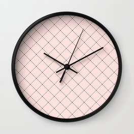 Back to School- Simple Diagonal Grid Pattern- Black & Pink - Mix & Match with Simplicity of Life Wall Clock