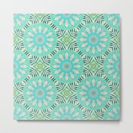 Cream And Turquoise Flowers Metal Print