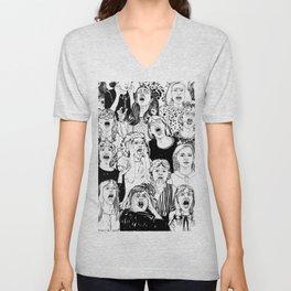 Wild girls. Black and white illustration. Unisex V-Neck