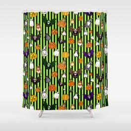 Galactic Penguin Halloween on Lime Stripes Shower Curtain