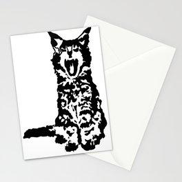 Screaming Kitten (Black & White) Stationery Cards