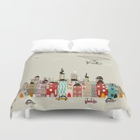 ohio Duvet Covers featuring visit cleveland ohio by bri.buckley