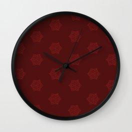 Snowflake I Red Wall Clock