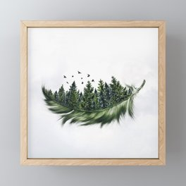 Earth Feather • Green Feather (horizontal) Framed Mini Art Print