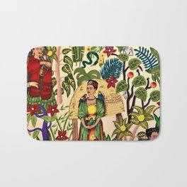 Frida's Garden, Casa Azul Lush Greenery Frida Kahlo Landscape Painting Bath Mat