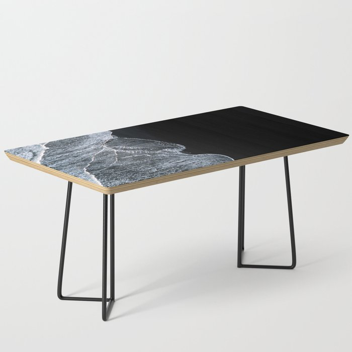 Waves on a black sand beach in iceland - minimalist Landscape Photography Coffee Table